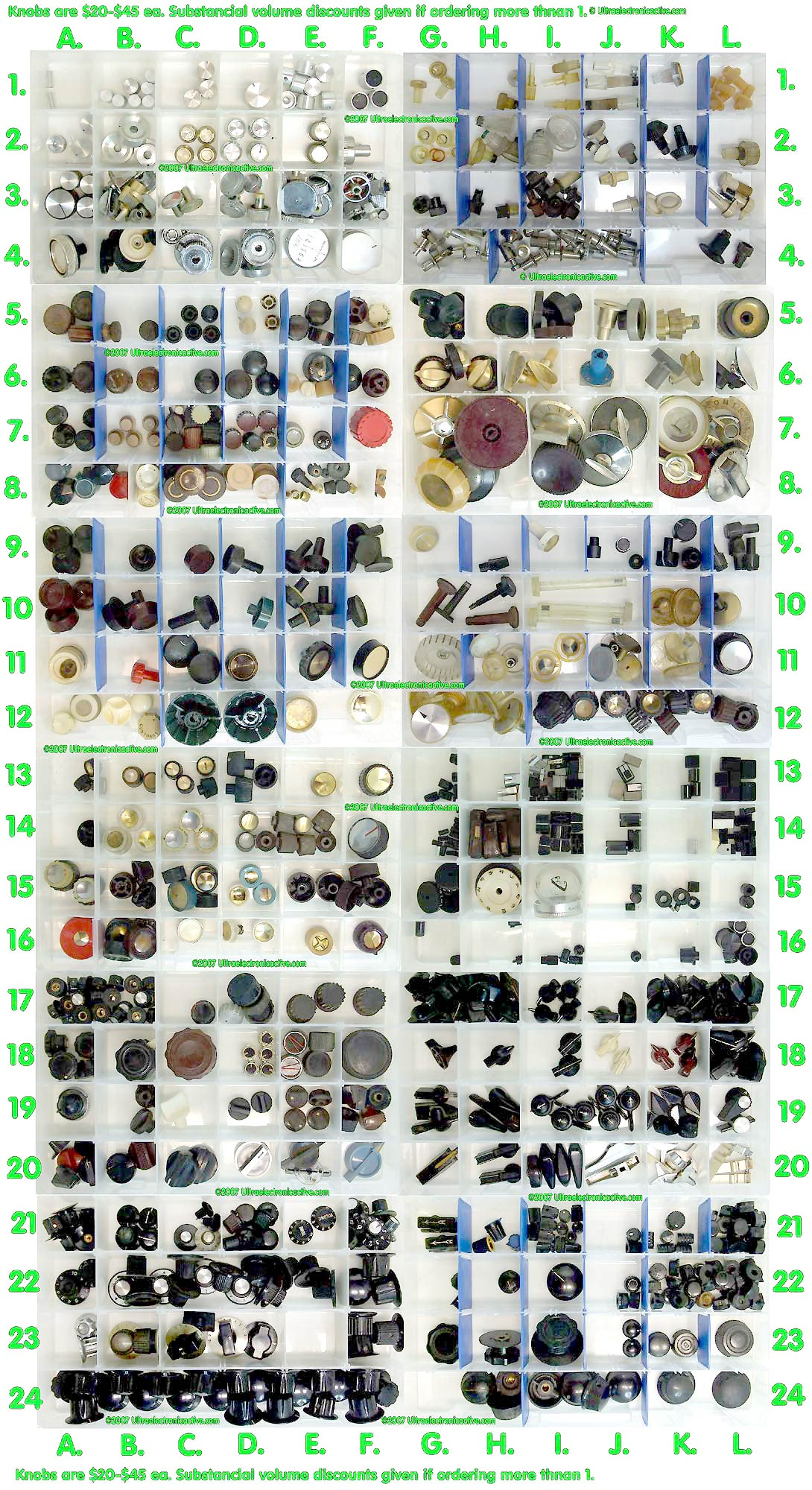 More than 300 types of Vintage Audio Equipment Knobs are available here!