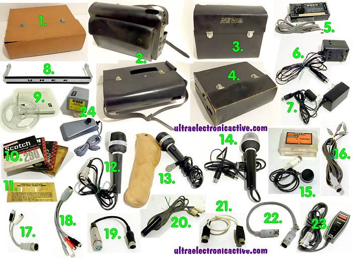 Acessories for UHER vintage portable recorders: Cases, Power supplies, Microphones, Tape Reels, Adapters and More